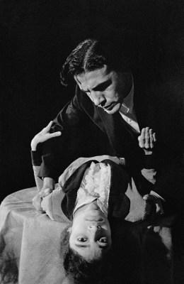 Miss Julie by August Strindberg, Dir. by E. Alkazi, Alaknanda Samarth as Miss Julie and E. Alkazi as Jean, Theatre Unit Bombay, 1960