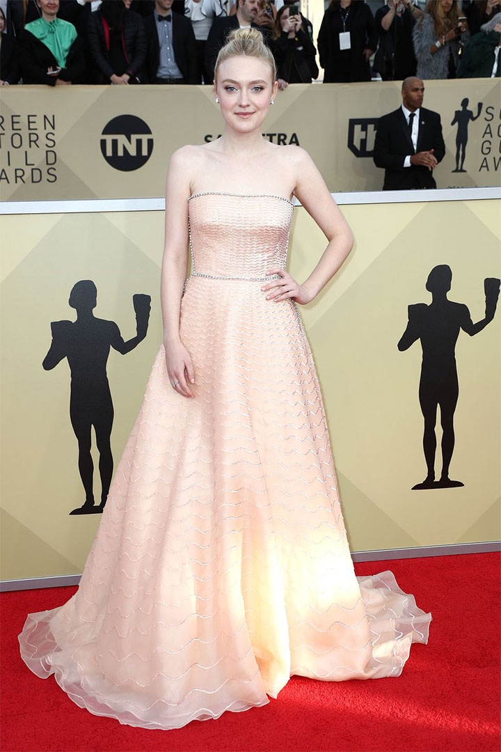 Dakota Fanning, Prada, 2018, 24th Annual Screen Actors Guild Awards, Fashion, Featured, Online Exclusive, Red Carpet, SAG Awards, Screen Actors Guild Awards, Style