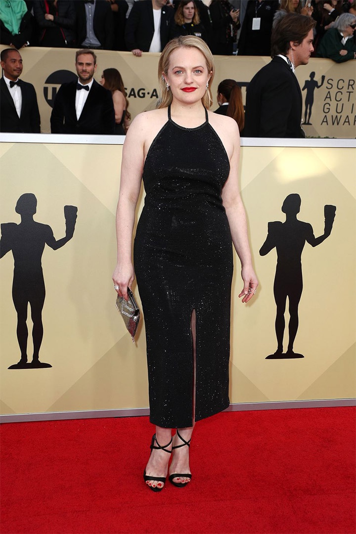 Elisabeth Moss, Adam Selman, 2018, 24th Annual Screen Actors Guild Awards, Fashion, Featured, Online Exclusive, Red Carpet, SAG Awards, Screen Actors Guild Awards, Style