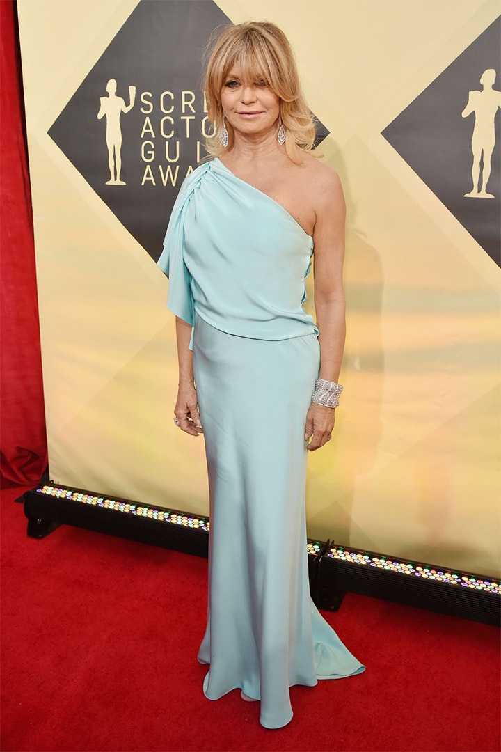 Goldie Hawn, Monique Lhuillier, 2018, 24th Annual Screen Actors Guild Awards, Fashion, Featured, Online Exclusive, Red Carpet, SAG Awards, Screen Actors Guild Awards, Style
