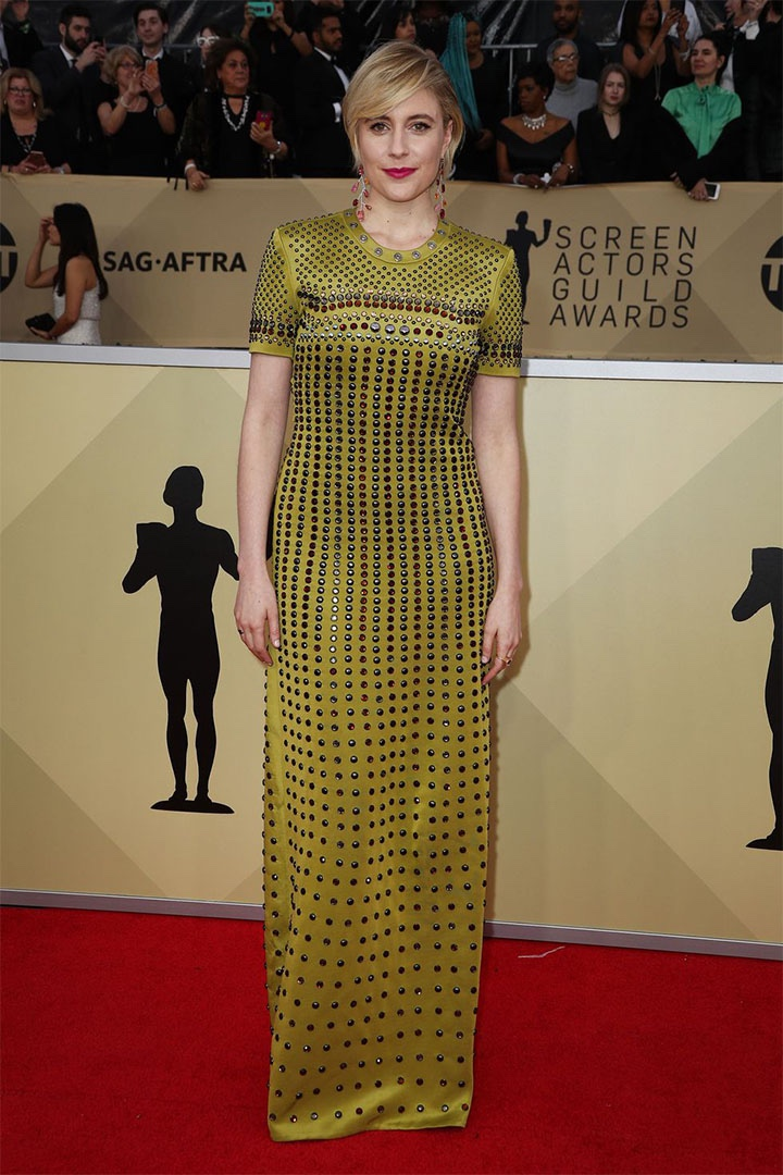 Greta Gerwig, Bottega Veneta, 2018, 24th Annual Screen Actors Guild Awards, Fashion, Featured, Online Exclusive, Red Carpet, SAG Awards, Screen Actors Guild Awards, Style