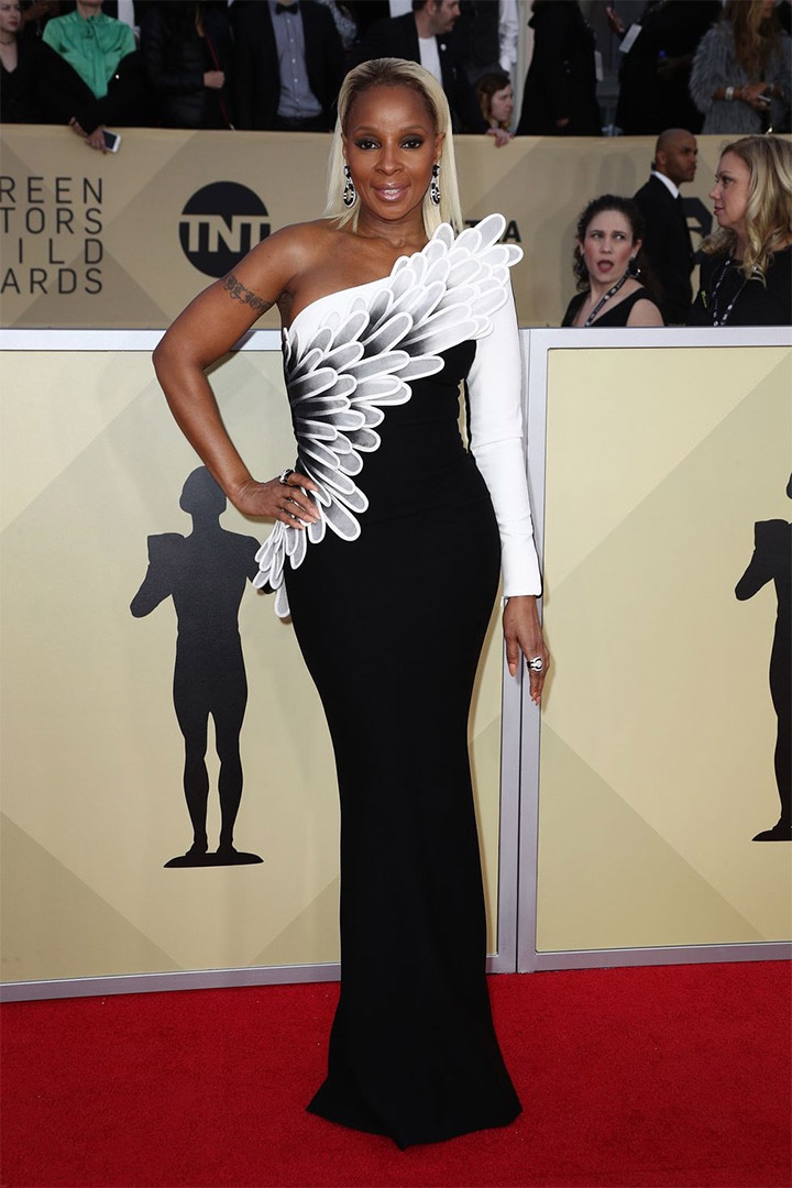 Mary J. Blige, Jean-Louis Sabaji, 2018, 24th Annual Screen Actors Guild Awards, Fashion, Featured, Online Exclusive, Red Carpet, SAG Awards, Screen Actors Guild Awards, Style