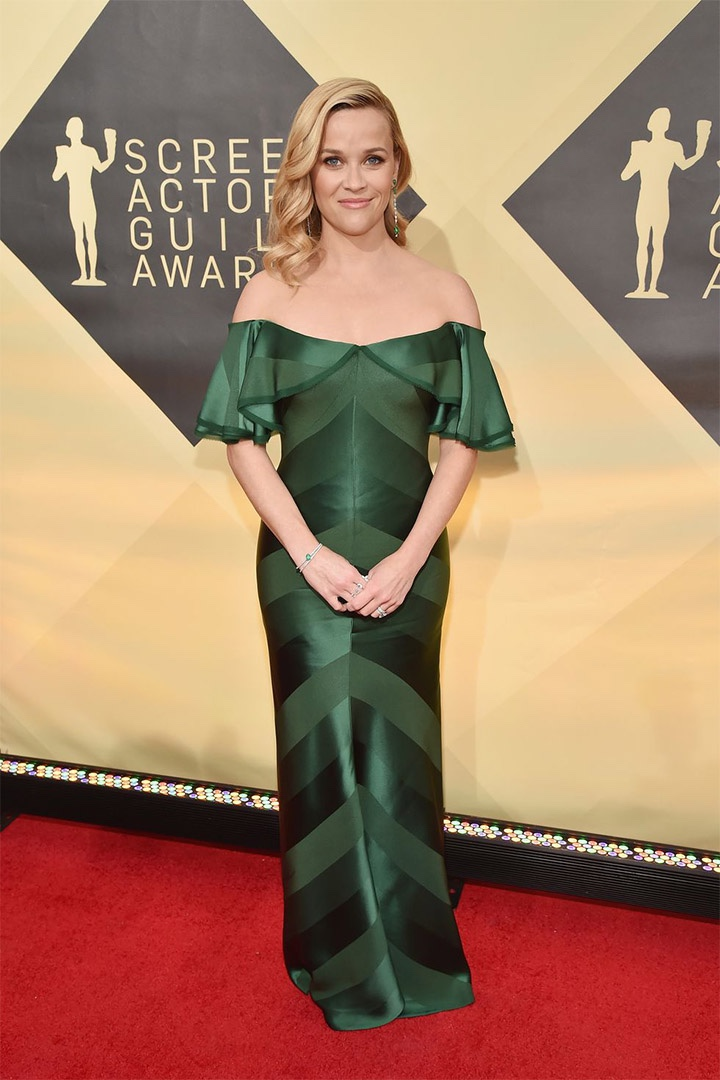 Reese Witherspoon, Zac Posen, 2018, 24th Annual Screen Actors Guild Awards, Fashion, Featured, Online Exclusive, Red Carpet, SAG Awards, Screen Actors Guild Awards, Style