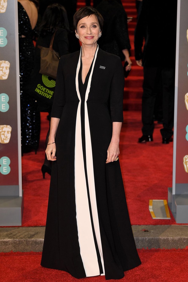 Kristin Scott Thomas, Christian Dior, Awards Show, BAFTA, BAFTAs 2018, Black, British Academy Film Awards, Cinema, Entertainment, Fashion, Featured, Film, Hollywood, Movies, Online Exclusive, Style, Time's Up
