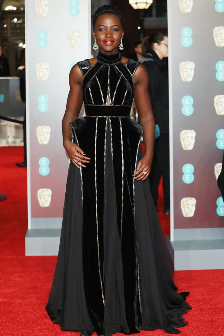 Lupita Nyong'o, Elie Saab, Awards Show, BAFTA, BAFTAs 2018, Black, British Academy Film Awards, Cinema, Entertainment, Fashion, Featured, Film, Hollywood, Movies, Online Exclusive, Style, Time's Up