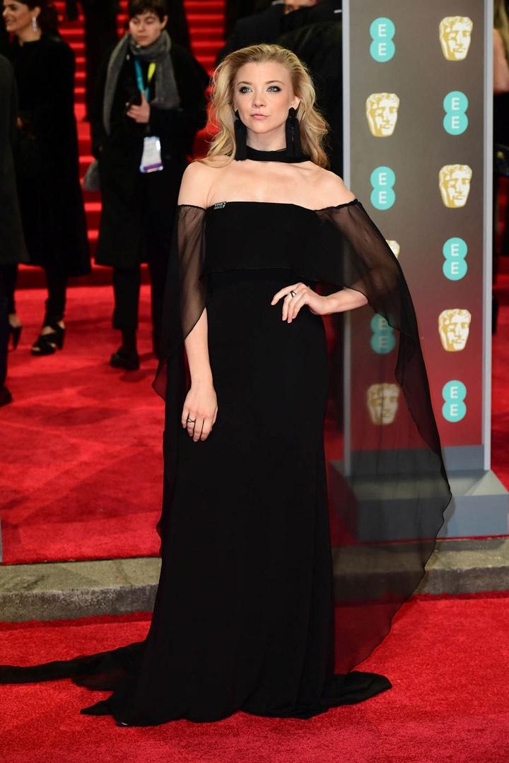 Natalie Dormer, Alberta Ferretti, Awards Show, BAFTA, BAFTAs 2018, Black, British Academy Film Awards, Cinema, Entertainment, Fashion, Featured, Film, Hollywood, Movies, Online Exclusive, Style, Time's Up