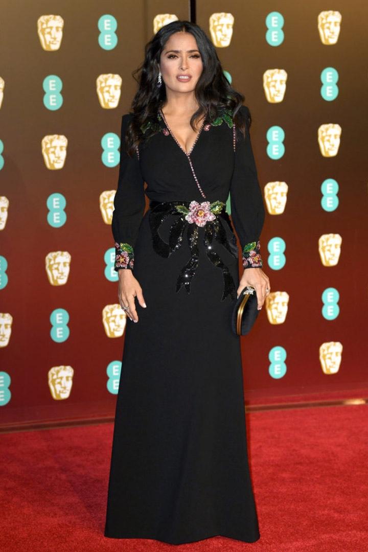 Salma Hayek, Gucci, Awards Show, BAFTA, BAFTAs 2018, Black, British Academy Film Awards, Cinema, Entertainment, Fashion, Featured, Film, Hollywood, Movies, Online Exclusive, Style, Time's Up