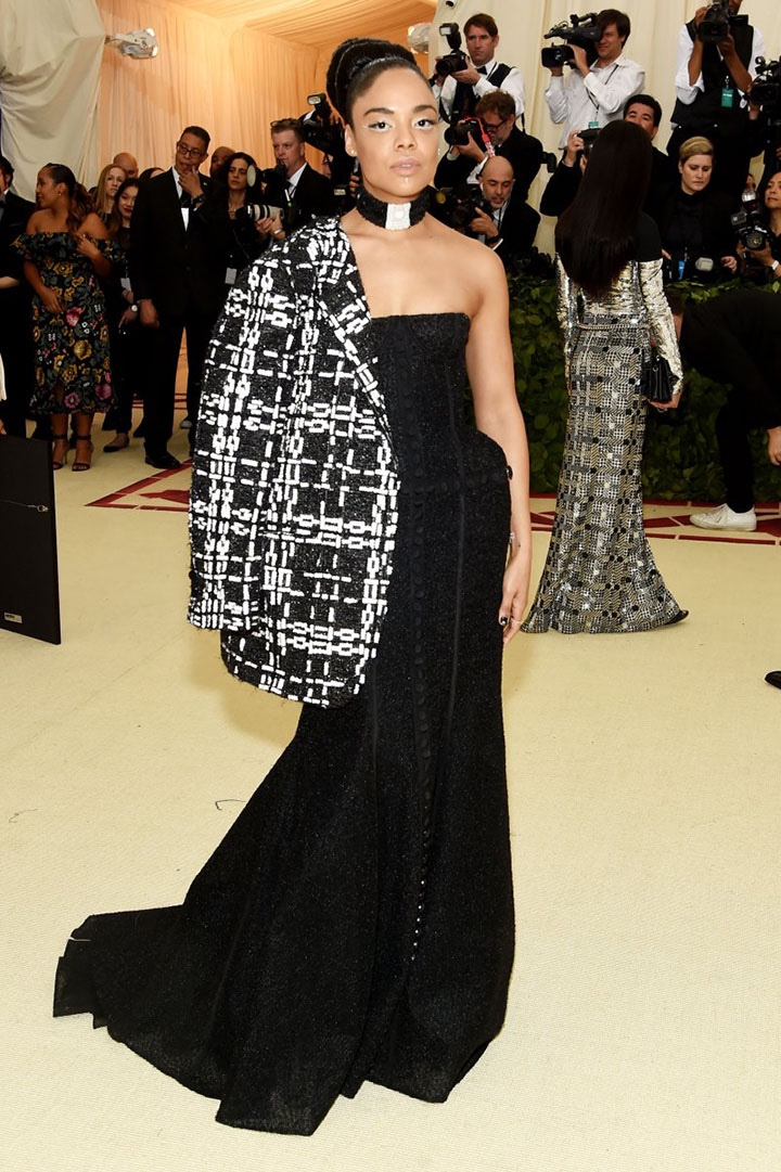 Catholic, Catholicism, Designers, Fashion, Fashion's Biggest Night Out, Heavenly Bodies: Fashion and the Catholic Imagination, Hollywood, Mat Gala, Met Ball, Met Ball 2018, Met Gala 2018, Metropolitan Museum of Art's Costume Institute Gala, Metropolitan Museum of Art's Costume Institute Gala 2018, Papal, Religion, Style, The Vatican, Vestments, Tessa Thompson, Thom Browne