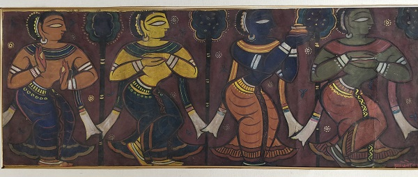 Jamini Roy 15x41 Tempera on canvas