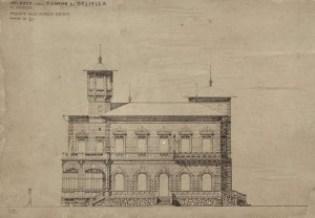 Una tavola di progetto originale di Villa Deliella di Ernesto Basile