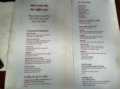crowne-plaza-edinburgh-breakfast-menu