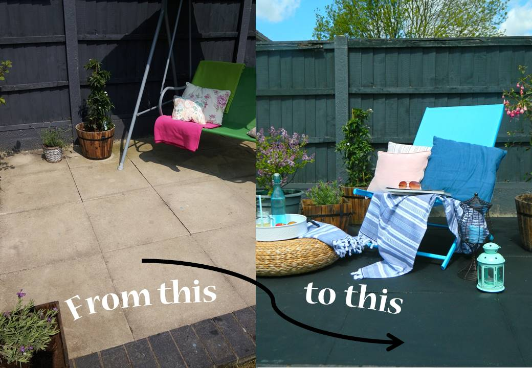 Beautiful Garden slabs looking tired? Paint them black and glitter!!! OX94