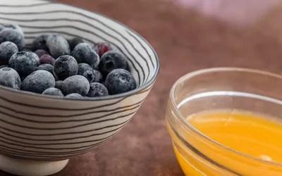 Blueberries and orange juice