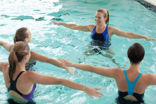 Women in water exercise class