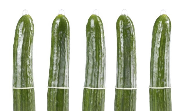 Condoms on cucumbers, contraception concept