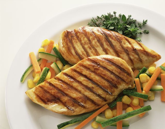 grilled chicken over vegetables