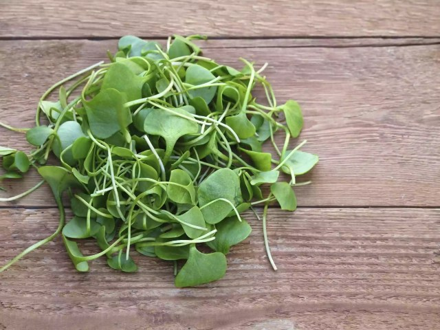 Watercress on a wooden table