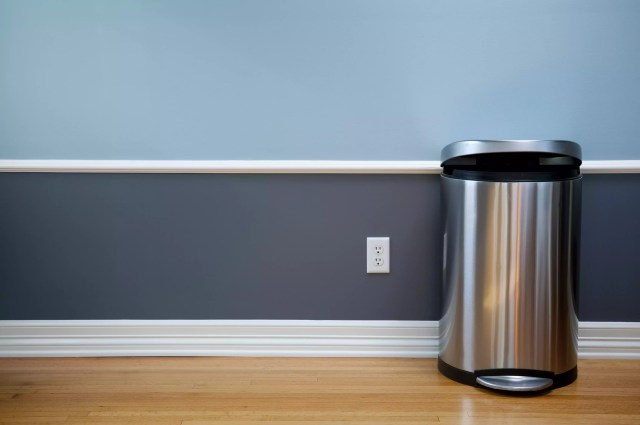 Empty Room With Modern Trash Can