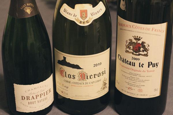Champagne Drappier - Blanc du Clos Nicrosi - Rouge du Château Le Puy pour le réveillon-de-Noël