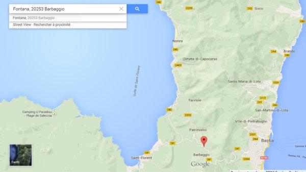 Map google pour situer Barbaggio en Corse