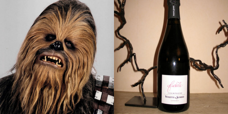 Accords vins et Star Wars - Chewbacca - Fidele champagne Vouette et Sorbee