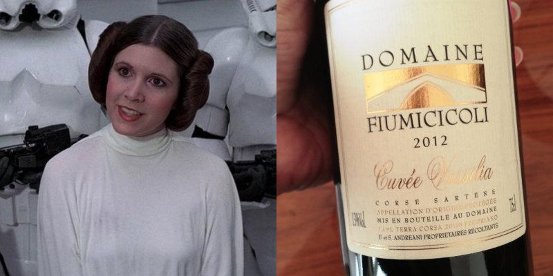 Accords vins et Star Wars - Leia - Cuvee Vassilia Domaine Fiumicicoli