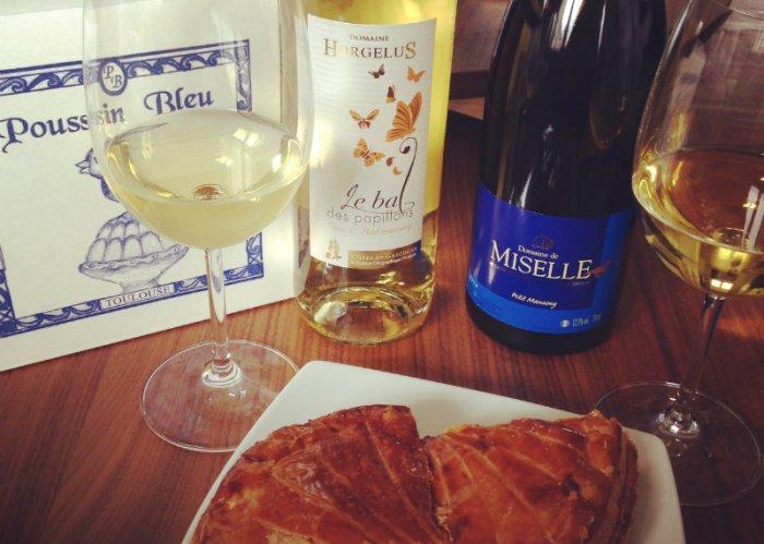 Galette des rois du Poussin Bleu et vins moelleux des Côtes de Gascogne