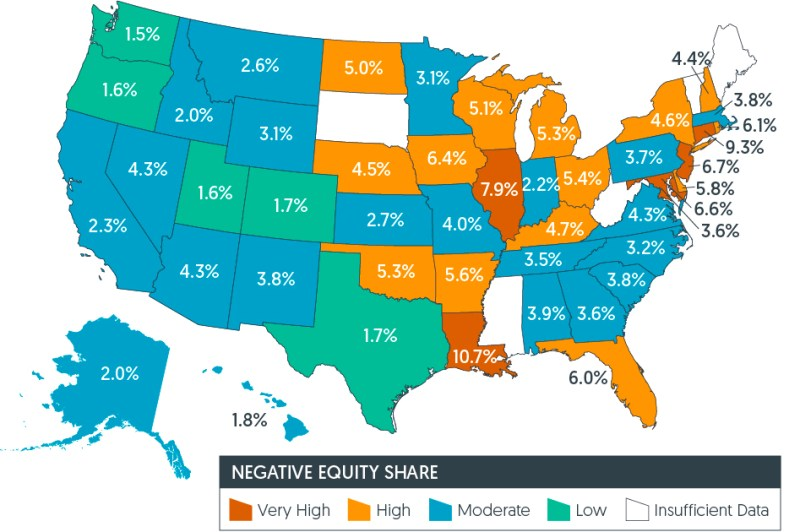 home equity map of US 2019