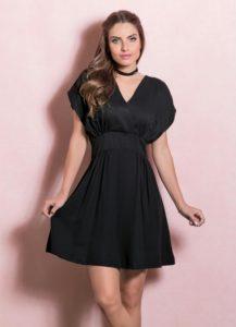 vestido decote v preto quintess acinturado