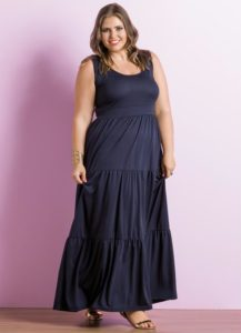 vestido longo marinho plus size