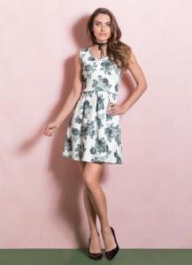 vestido floral quintess rodado