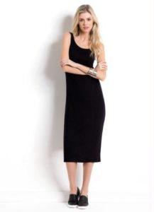 vestido midi preto quintess com fenda na barra