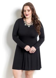 Vestido Evasê Preto Quintess Plus Size