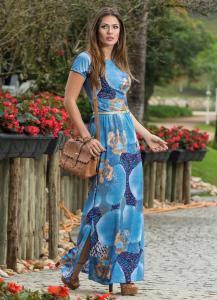Vestido Longo com Fendas Laterais Estampado