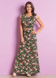Vestido Longo com Tule Floral Moda Evangélica