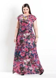 Vestido Longo Manga Curta Floral Plus Size