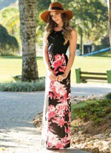 Vestido Longo Preto e Floral Moda Evangélica