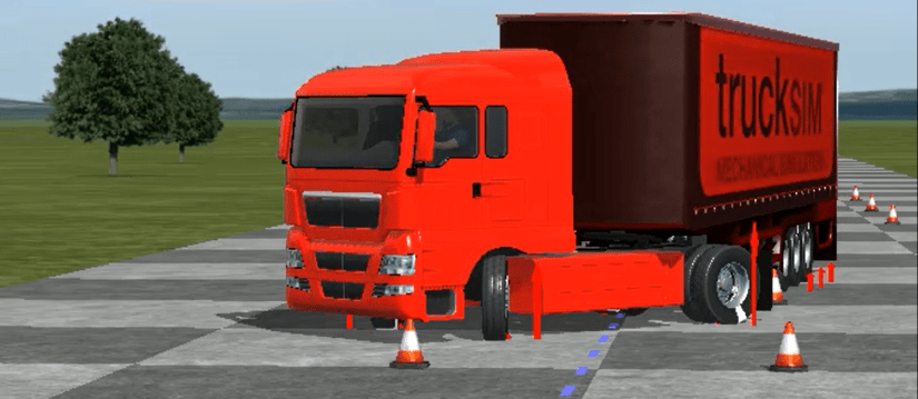 Simulation of Single Lane Change with Tractor-Semitrailer resulting in Jackknife and Trailer Swing