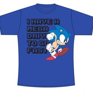"Sonic Blauw Mega Drive To Go Fast ""KINDER T-SHIRTS"" MAAT 140"