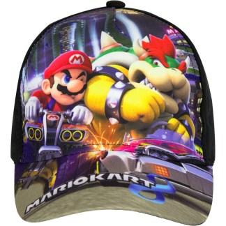 """Super Mariokart 8 Cap Zwart Mario en Bowser """"maat 52"""""""
