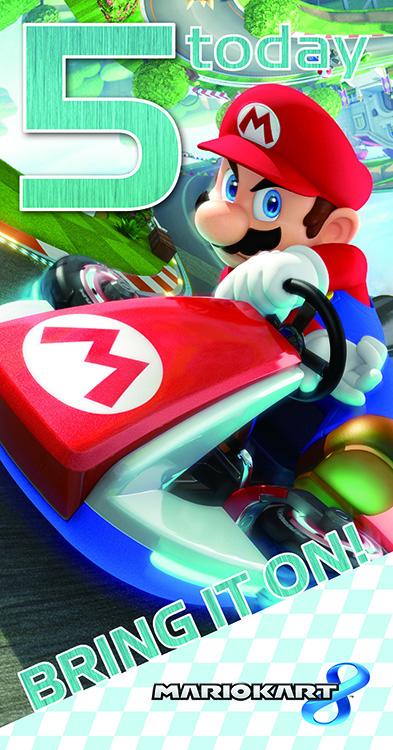 """Mariokart 8 """"5 today Bring it on! Verjaardagskaart"""""""