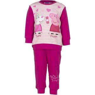 Peppa Pyjama Fuchsia/Wit gestreept 12 maanden