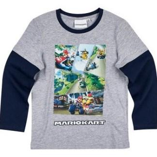 """Super mariokart T-shirt lange mouw grijs """"maat 140"""""""