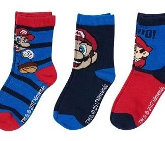 """Super Mario sokken """"3 pak gestreept """""""
