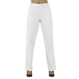 Label blouse Pantalon médical Mixte Homme Femme Sergé 210 gramme Couleurs Blanc Tailles élastiquée Lavage Machine 90 degrés ou industriel T2-40/42