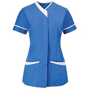 Alexandra – Tunique médicale – Femme (FR 46) (Bleu/Blanc)