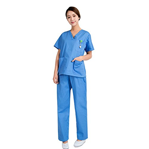 Free Fisher Blouse Vêtement de Travail Femme Blouse + Pantalon Ensemble infemier uniforme salon pour Médecin/Docteur…
