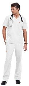 Ensemble Blouse+Pantalon médical unisexe Orange standard (M, Blanc)