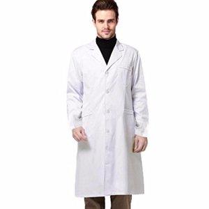 WODDU Blouse Stérilisée Blanche Vêtement de Travail Salon de Beauté Médecin Lab (Blanc)