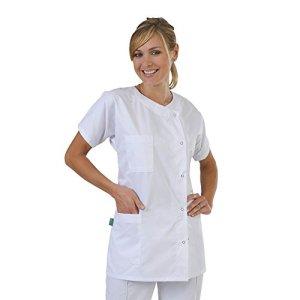 Tunique médicale – Blanc – Femme – Col rond fermeture pressions – T8-64/66